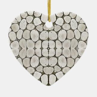 Textura de piedra de la pared del modelo adorno de cerámica en forma de corazón