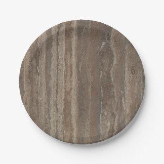 Textura de piedra marrón de mármol elegante plato de papel 17,78 cm