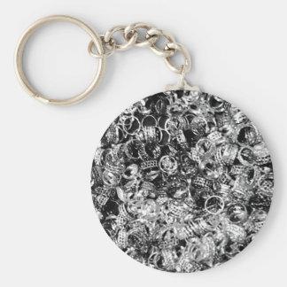 Textura de plata del fondo del anillo llavero