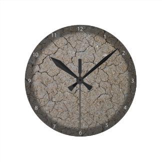 Textura de tierra seca agrietada relojes de pared