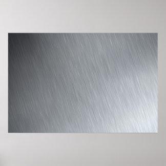 Textura del acero inoxidable con puntos culminante póster