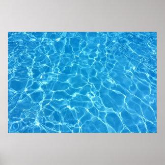 Textura del agua azul póster