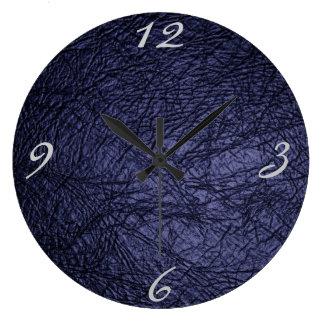 textura del cuero de los azules marinos reloj redondo grande