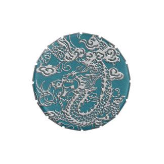 Textura del cuero de los dragones de la astilla latas de caramelos