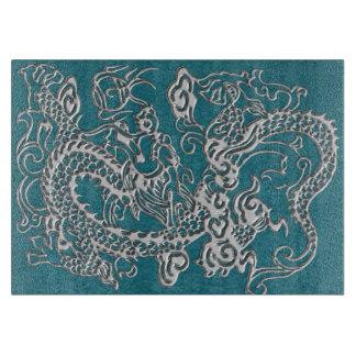 Textura del cuero de los dragones de la astilla tabla para cortar
