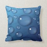 Textura del descenso del agua azul cojin