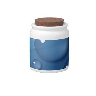 Textura del descenso del agua azul jarras para caramelos