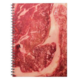 Textura del filete de Ribeye de la carne cruda Libreta