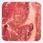 Textura del filete de Ribeye de la carne cruda Pegatina Cuadrada