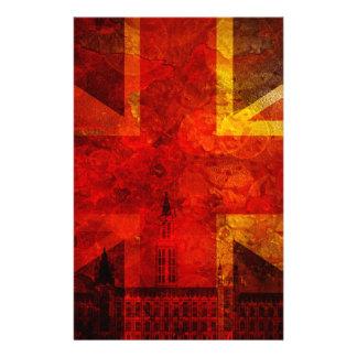 Textura del Grunge de la bandera de Union Jack del Papeleria Personalizada
