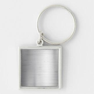 Textura del metal plateado llavero cuadrado plateado