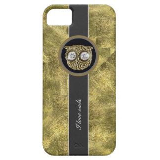 Textura del oro, búhos del amor funda para iPhone 5 barely there