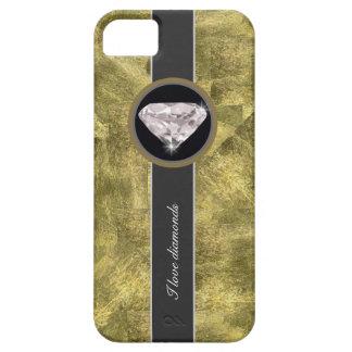 Textura del oro, diamantes del amor iPhone 5 carcasa