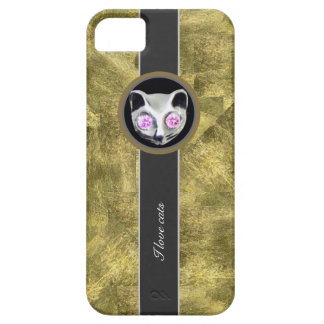 Textura del oro, gatos del amor iPhone 5 carcasa