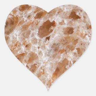 Textura del pan pegatina en forma de corazón
