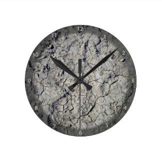 Textura del suelo agrietado seco reloj