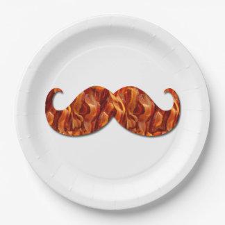 Textura deliciosa caliente del tocino del bigote plato de papel de 9 pulgadas