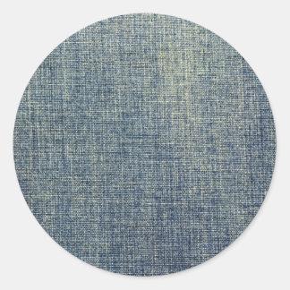 Textura descolorada de la tela del dril de algodón pegatina redonda