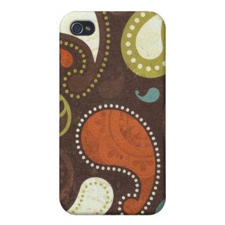 Textura enrrollada de Paisley iPhone 4/4S Fundas