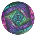 Textura espiral del fractal del arco iris plato