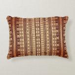 Textura étnica de Brown Cojín Decorativo