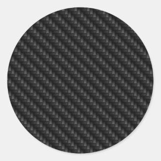 Textura firmemente tejida de la fibra de carbono d etiquetas redondas