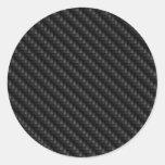 Textura firmemente tejida de la fibra de carbono etiquetas redondas