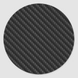 Textura firmemente tejida de la fibra de carbono pegatina redonda