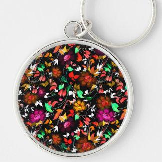 Textura floral colorida del vintage lindo llavero redondo plateado