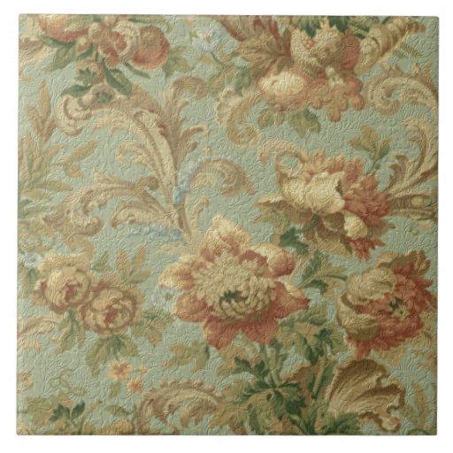 Textura floral de la antigüedad magnífica del Viej Azulejo Cuadrado Grande
