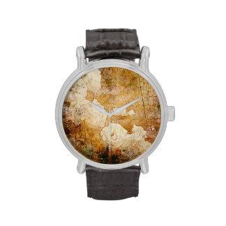 textura floral del fondo del vintage del grunge de relojes de pulsera