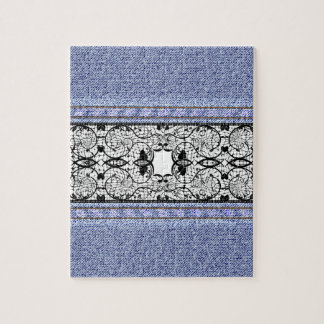 Textura floral retra del dril de algodón de la rompecabeza con fotos
