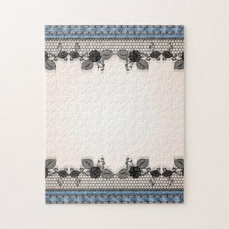 Textura floral retra del dril de algodón de la rompecabeza