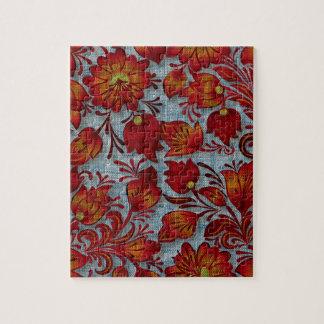 Textura floral retra del dril de algodón de la puzzles