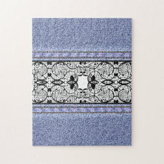 Textura floral retra del dril de algodón de la puzzle