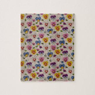 Textura floral retra del dril de algodón de la puzzle con fotos