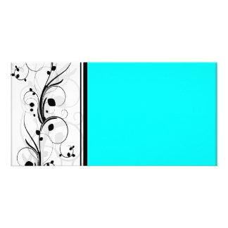 Textura floral y ciánica negra inspiradora tarjeta personal