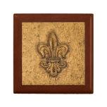 Textura francesa de New Orleans de la flor de lis  Cajas De Regalo