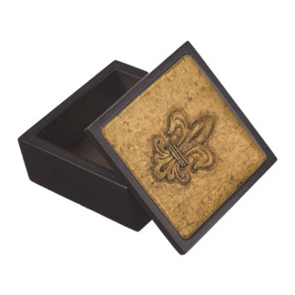 Textura francesa de New Orleans de la flor de lis Cajas De Recuerdo De Calidad