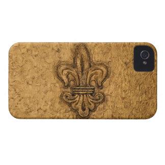 Textura francesa de New Orleans de la flor de lis Case-Mate iPhone 4 Funda