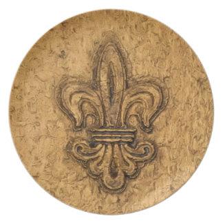 Textura francesa de New Orleans de la flor de lis Plato Para Fiesta