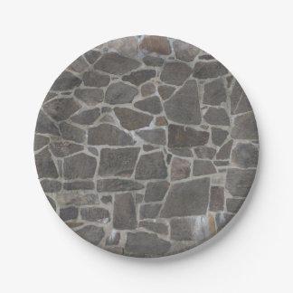 Textura gris de la pared de piedra plato de papel 17,78 cm