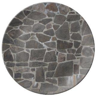 Textura gris de la pared de piedra plato de cerámica