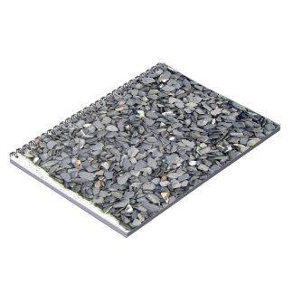 Textura gris de los microprocesadores de la pizarr libro de apuntes con espiral