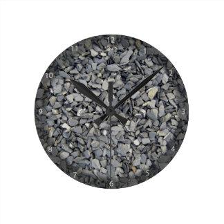 Textura gris de los microprocesadores de la pizarr reloj redondo mediano