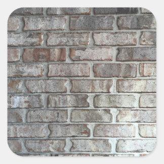 Textura gris del fondo de los ladrillos del Grunge Pegatina Cuadrada