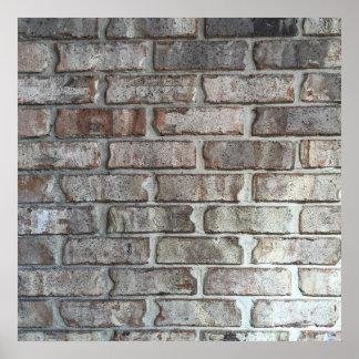Textura gris del fondo de los ladrillos del Grunge Póster