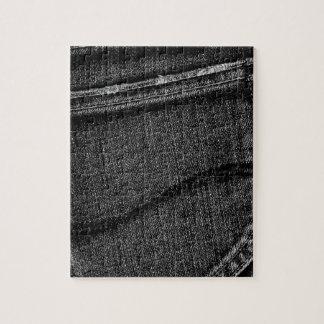 Textura gris negra retra del dril de algodón puzzles