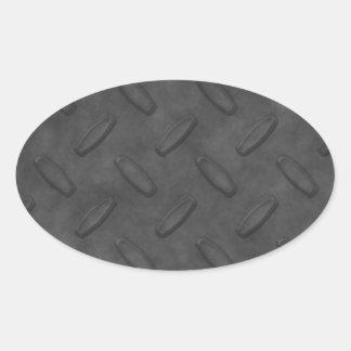 Textura gris oscuro de la placa del diamante pegatina ovalada