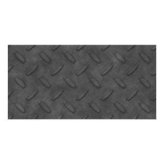 Textura gris oscuro de la placa del diamante tarjeta personal con foto